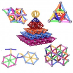 Magnetic building blocks - magnetic sticks & metal balls - do-it-yourself toy