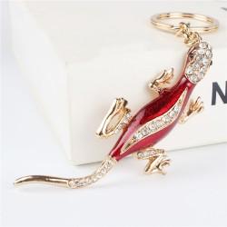Red lizard - crystal keyring