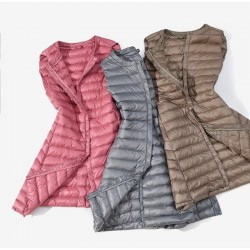 Fall - winter ultralight long down vest
