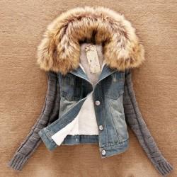 Fashionable denim & fleece short jacket with detachable fur collar