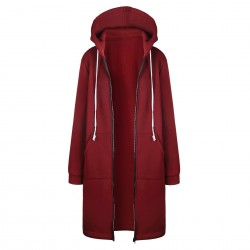 Casual oversized jacket - long hooded sweatshirt with zipper - plus size