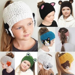 Winter knitted ear protection hat - wool headband for kids