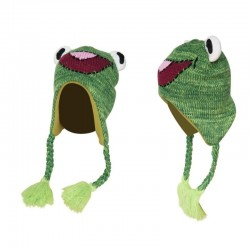 Little frog - children's warm hat with ear flaps & tassels