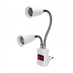 E27 - double head - flexible lamp base - converter - bulb holder